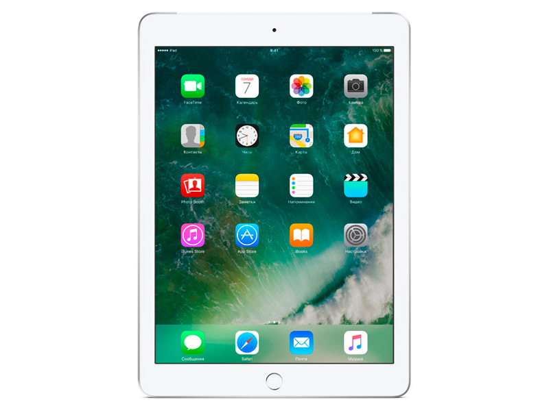 Планшет Apple iPad MP272RU/A 128Gb 9.7'' QXGA (2048x1536) Retina/A9/ 3G+LTE/ GPS+GLONASS/ WiFi / BТ /8.0MP/iOS10/ Silver apple ipad 3 32gb wifi