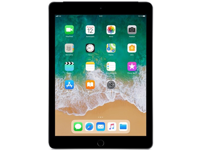 Планшет Apple iPad Wi-Fi+Cellular MR722RU/A 128GB 9.7'' IPS (2048x1536) Retina/A10/3G+LTE/WiFi/BТ/8.0MP/iOS11/Space Grey