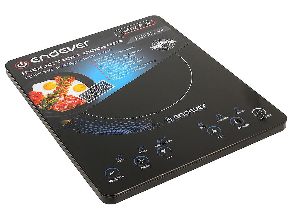 Плитка индукционная Endever Skyline IP-39 Черная, 2000Вт, Сенсорное упр., 1 конфорка