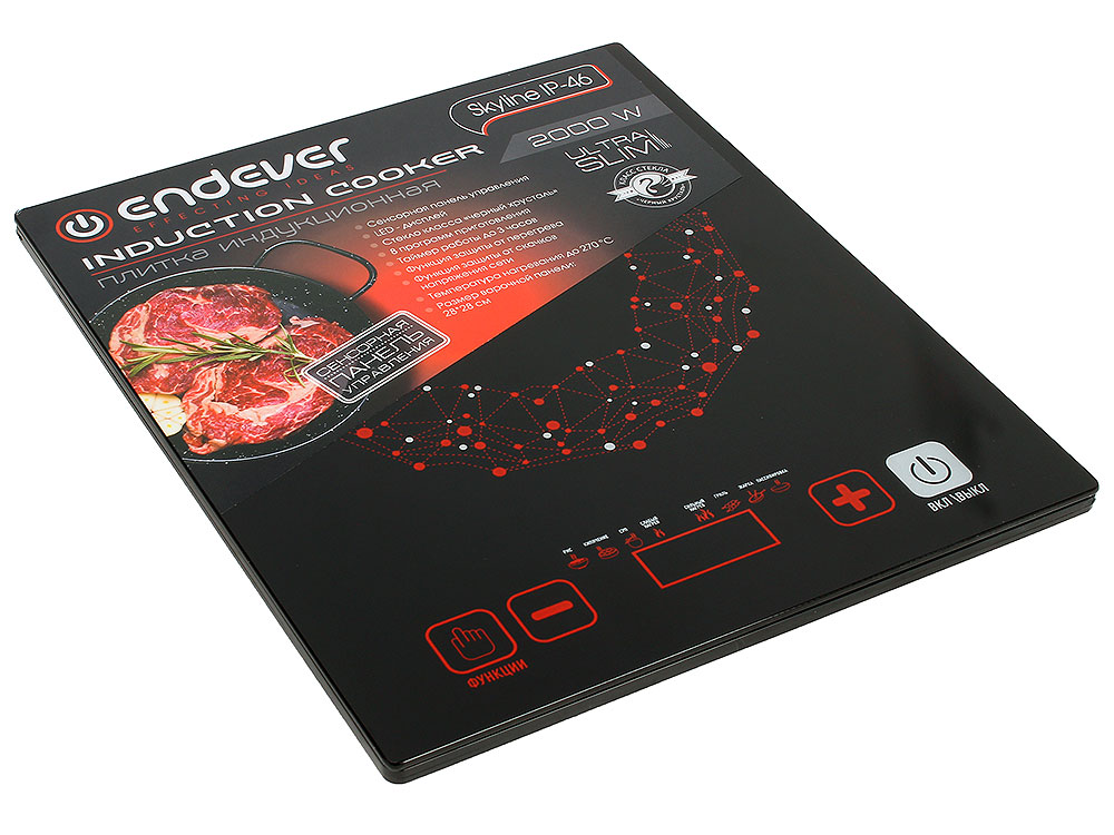 Плитка индукционная Endever Skyline IP-46 Черная, 2000Вт, Сенсорное упр., 1 конфорка