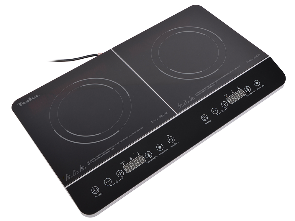 Плитка индукционная TESLER PI-22 2 конфорки, 500-1500 Ватт и 500-2000 Ватт, Сенсорное упр индукционная электроплитка tesler pi 22 чёрный