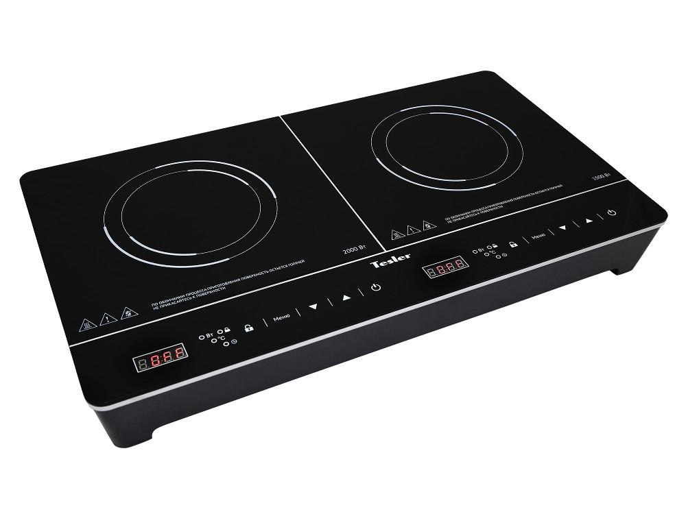 Плитка индукционная TESLER PI-23, 2 конфорки, 3500Вт, стеклокерамика, черный морозильник tesler rf 90 белый