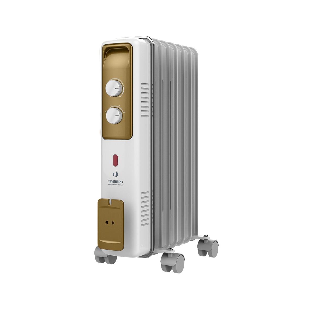 Масляный радиатор Timberk TOR 21.1507 BCX, 7 секций, 1500 Вт., защита от протечек масла, высокоточный термостат