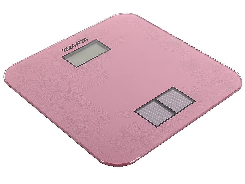 Электронные напольные весы MARTA MT-1663 розовый мультиварка marta mt 4314 темный агат