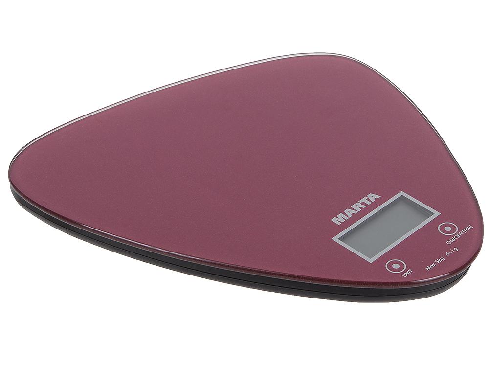 Весы кухонные MARTA MT-1632 красный блестящий
