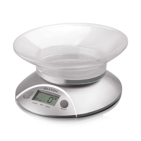 Электронные кухонные весы Maxwell MW-1451 (SR) (5 кг, цена деления, 1 г, прозрачная чаша ёмкостью 0,8 л)