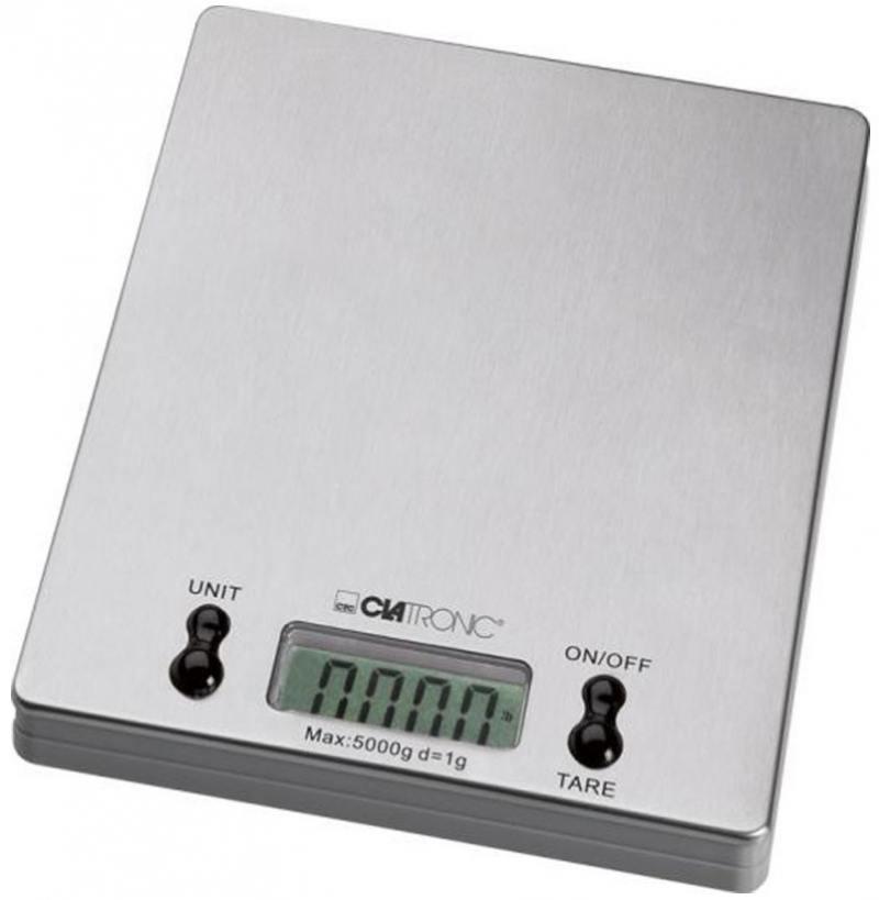 Весы кухонные Clatronic KW 3367 серебристый сэндвичница clatronic st wa 3490