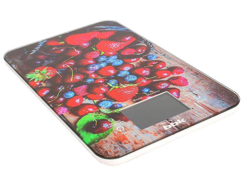 Электронные кухонные весы BBK KS107G темно-синий/красный фен bbk bhd0800 темно синий bhd0800