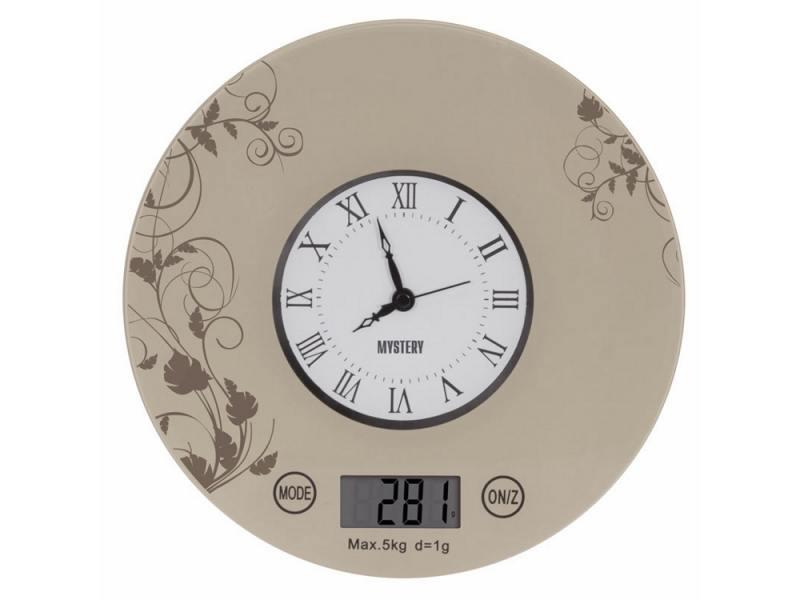 Весы кухонные Mystery MES-1818 электронные бежевый с рисунком