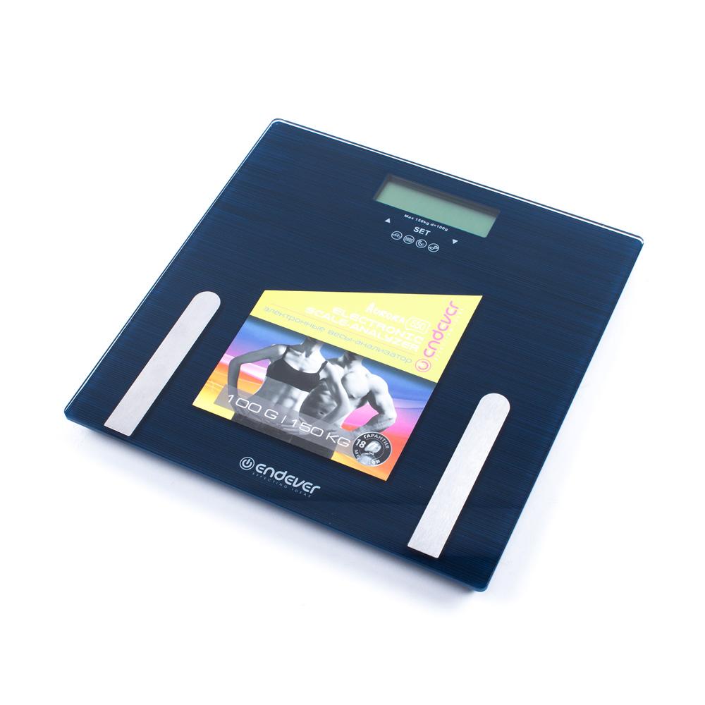 Электронные напольные весы с анализатором жира Endever Aurora-550, синий, закаленное стекло, макс вес 150 кг, LCD подсветка пылесос endever vc 550