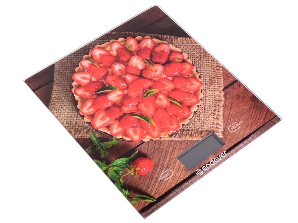 Весы кухонные электронные Endever Skyline KS-522, рисунок Торт, вес от 2 г до 5 кг, закаленное стекло повышенной прочности, автоматическое отключение цена и фото