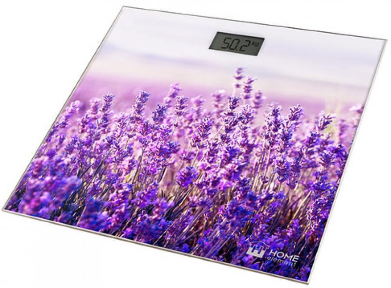 Весы напольные HOME ELEMENT HE-SC906 рисунок лаванда фиолетовый весы напольные home element he sc906 рисунок лаванда фиолетовый
