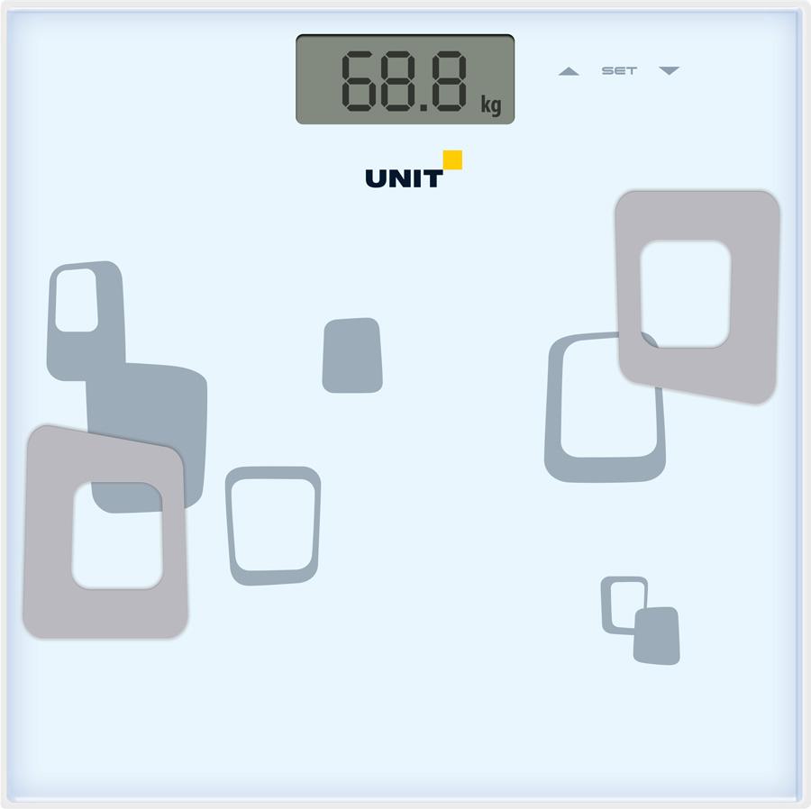 Весы напольные электронные UNIT UBS-2220, стекло, диагностические, 150кг. 100гр. (Цвет: Белый) весы напольные tefal pp1061v0 premiss white стекло до 150кг