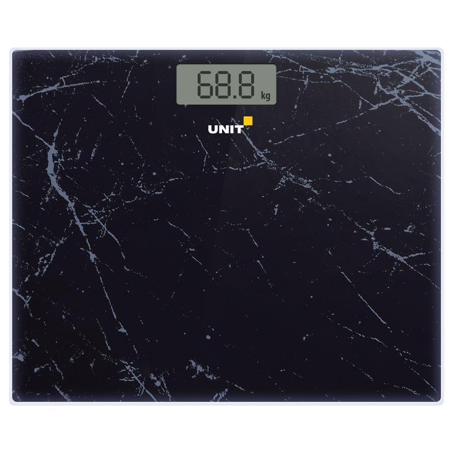 Весы напольные электронные UNIT UBS-2058, стекло, 180кг. / 50гр. Широкая платформа - 35см. Цвет: Чёрный Мрамор unit ubs 2053 light gray весы напольные электронные