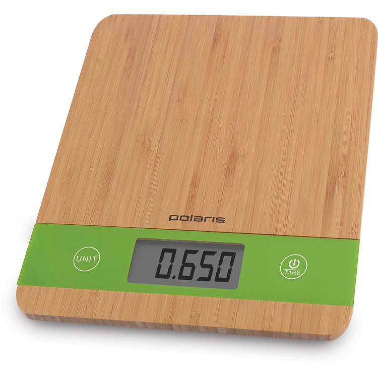 Весы кухонные Polaris PKS 0545D, макс.вес 5кг, бамбук весы кухонные электронные polaris pks 0545d макс вес 5кг бамбук
