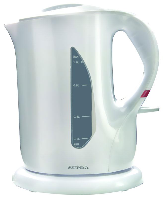 Чайник SUPRA KES-1001 мощность — 1000Вт; объем — 1л; корпус — пластик; фильтр от накипи, цвет — белый supra kes 1001 электрочайник