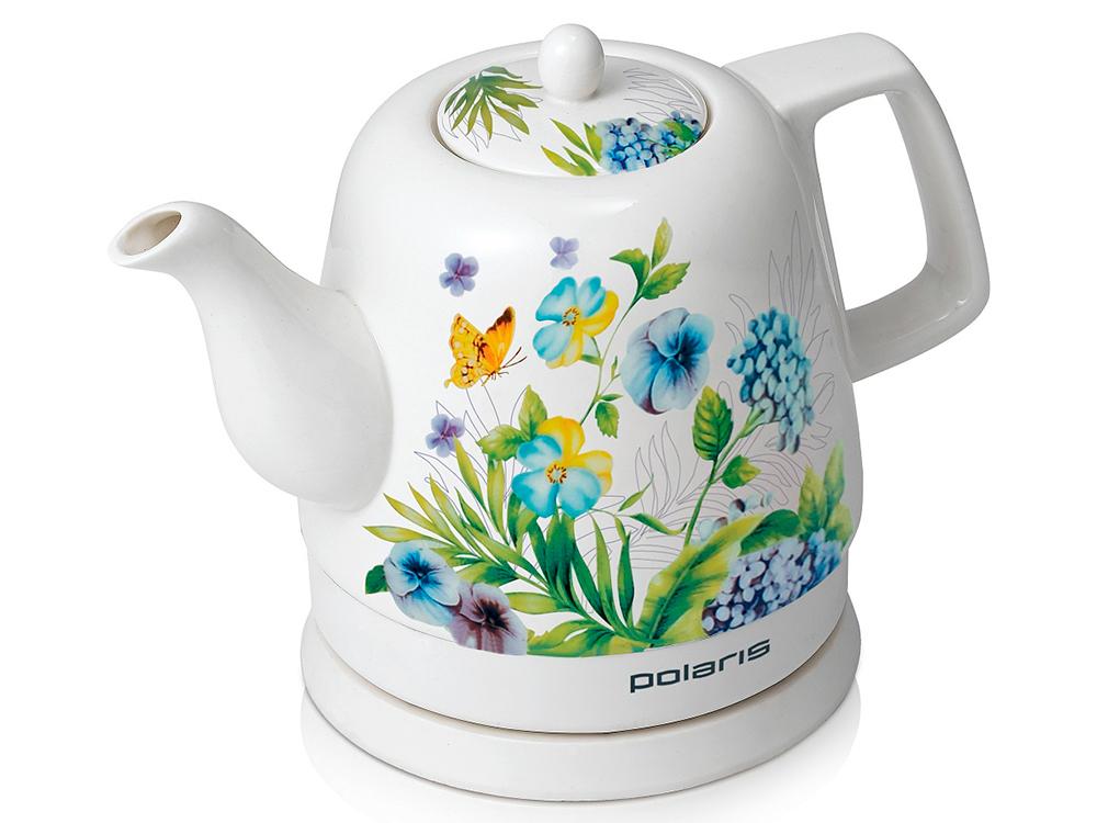 Чайник электрический POLARIS PWK 1299CCR мощность — 1500Вт; объем — 1.2л; корпус — керамика; цвет — белый/весна