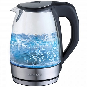 Чайник электрический POLARIS PWK 1729CGL мощность — 2200Вт; объем — 1.7л; корпус — стекло и нержавеющая сталь и стекло; фильтр от накипи, подсветка во