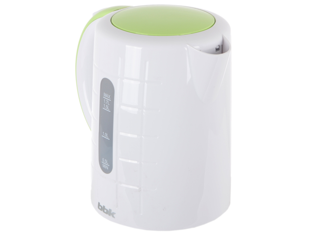 Чайник BBK EK1703P, 2200Вт, 1.7л, пластик, белый/зеленый чайник bbk ek1703p 2200 вт 1 7 л пластик белый металлик