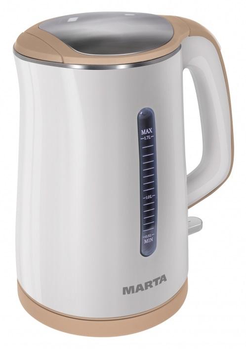 Чайник электрический MARTA MT-1065 белый/бежевый чайник marta mt 1048