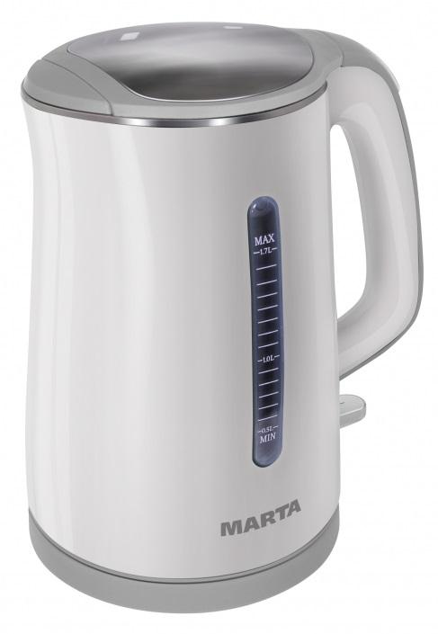 Чайник электрический MARTA MT-1065 белый/серый чайник marta mt 1048