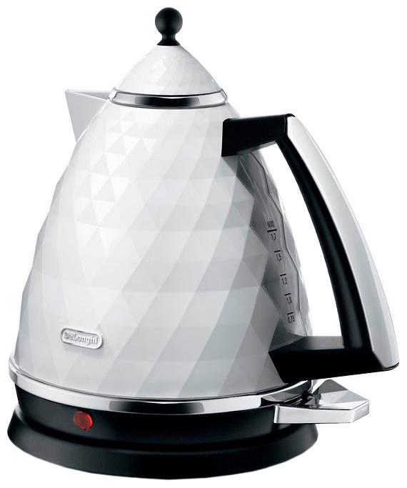Чайник DeLonghi KBJ 2001 W, 2000Вт, 1.7л, белый мультиварка delonghi fh 1394 тостер delonghi brillante ctj 2103 w чайник delonghi brillante kbj 2001 w