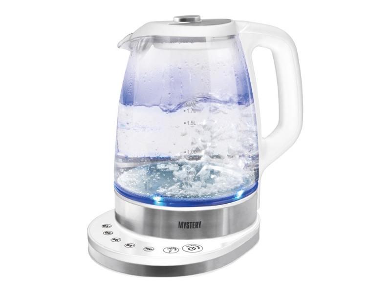 Чайник MYSTERY MEK-1628 пластик/стекло белый серебристый