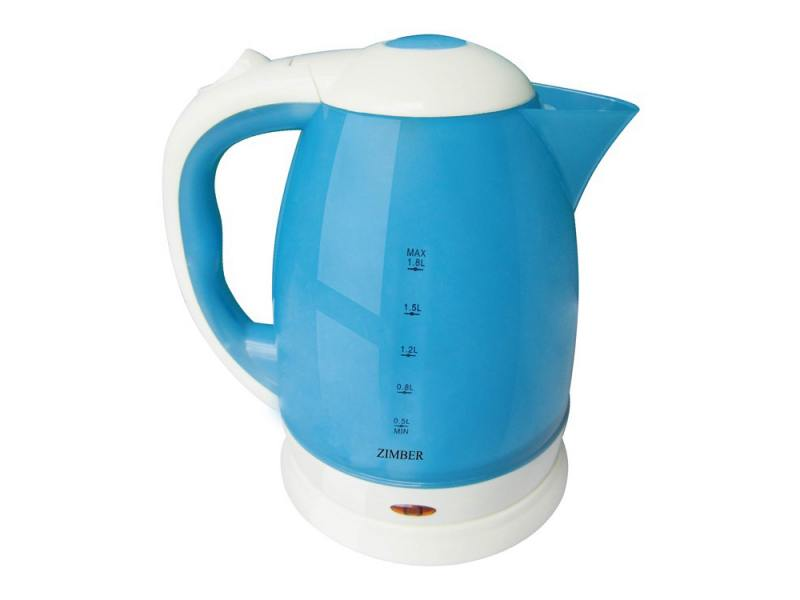 Чайник Zimber ZM-10702 2200 Вт 1.8 л пластик белый синий чайник zimber zm 11104 2200 вт 1 7 л пластик белый серый