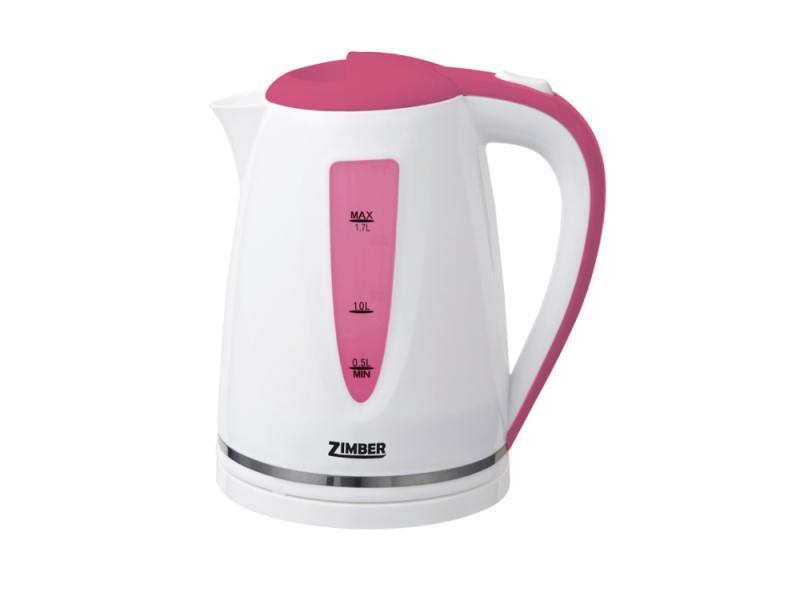 Чайник Zimber ZM-10853 2200 Вт 1.7 л пластик белый розовый чайник zimber zm 11104 2200 вт 1 7 л пластик белый серый