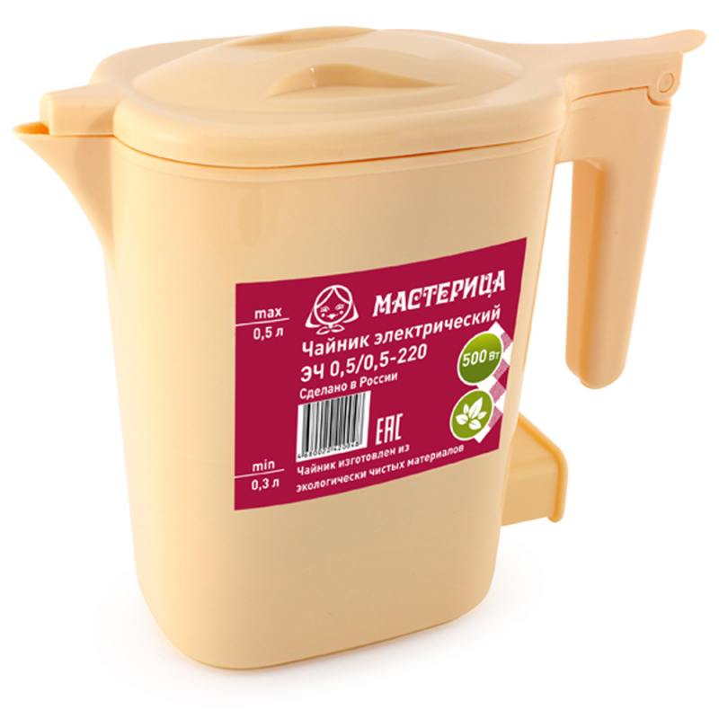 Чайник электрический Мастерица ЭЧ 0,5/0,5-220, пластик, бежевый, 500 Вт, 0,5 л, шкала уровня воды