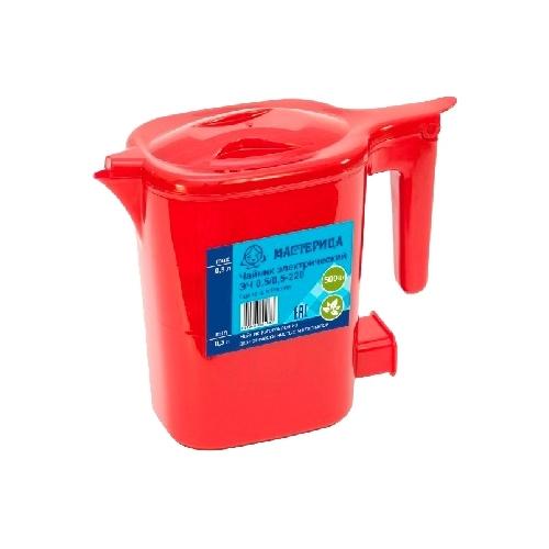 Чайник электрический Мастерица ЭЧ 0,5/0,5-220, пластик, рубин, 500 Вт, 0,5 л, шкала уровня воды