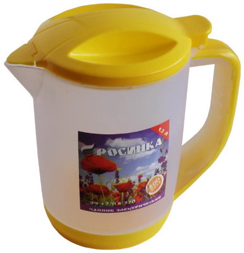 Чайник электрический РОСИНКА ЭЧ-1,2/0,8-220 ,об.1.2л,желтый, пластик
