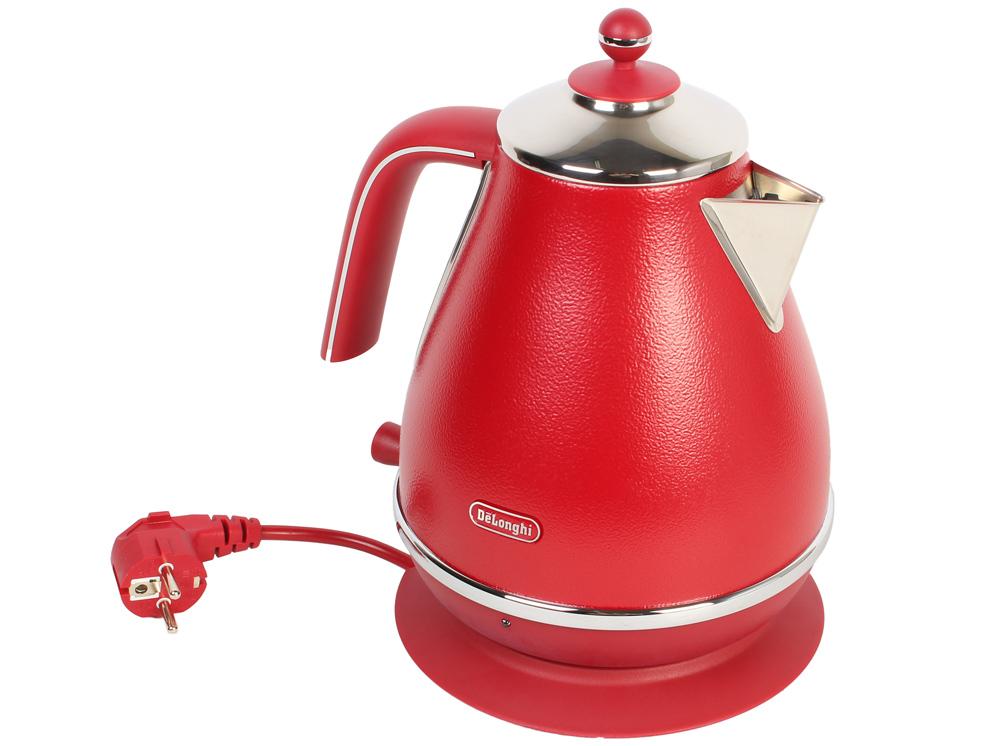 Чайник DeLonghi KBOE2001.R, 2000Вт, 1.7л, красный кофеварка delonghi en 500 коричневый