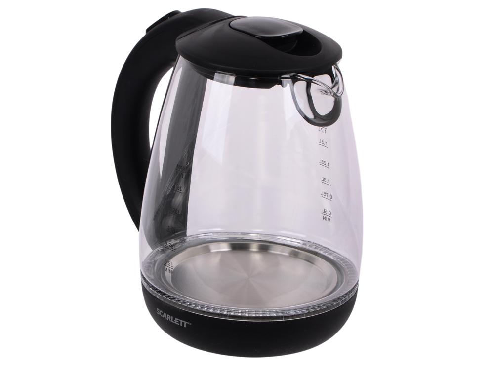 Чайник Scarlett SC-EK27G15 2200 Вт 1.7 л стекло чёрный чайник scarlett sc ek27g15