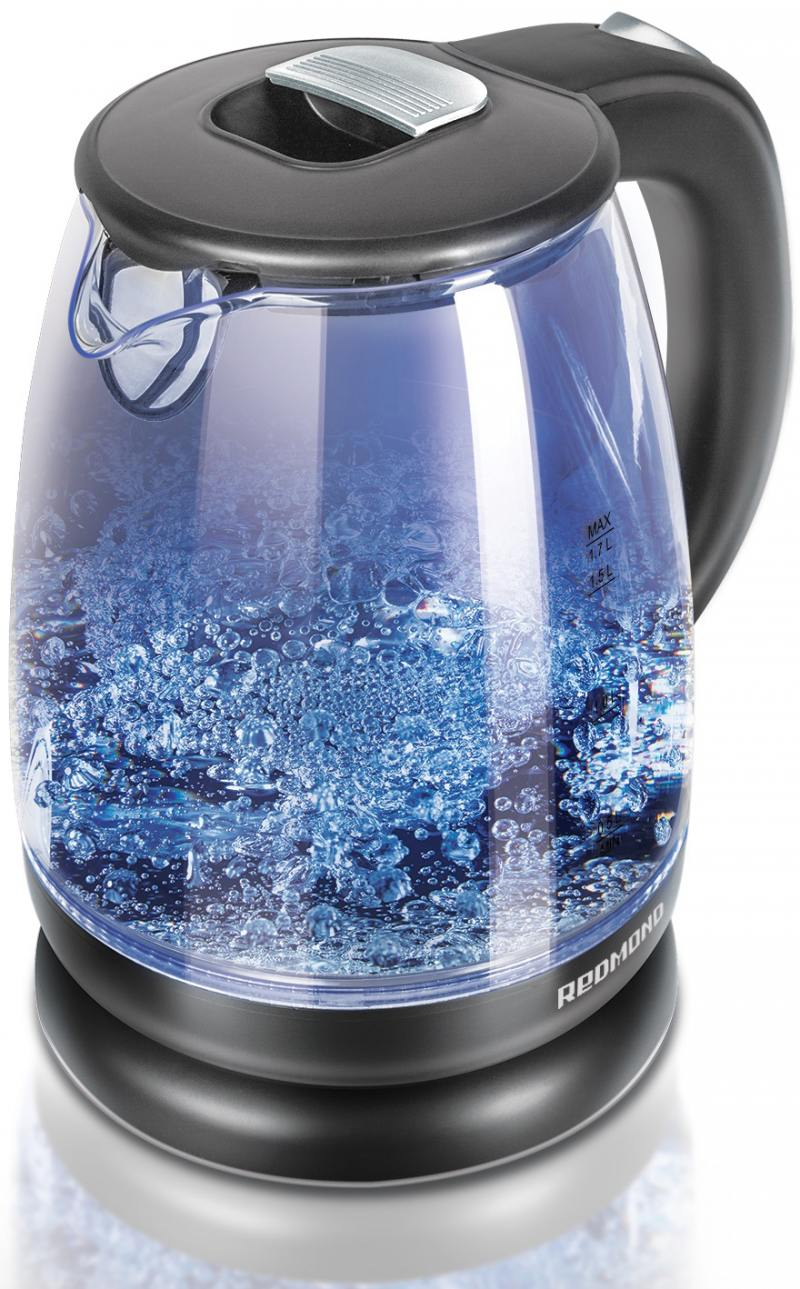 Чайник Redmond RK-G178 2000 Вт серебристый 1.7 л стекло чайник электрический redmond rk m113 серебристый