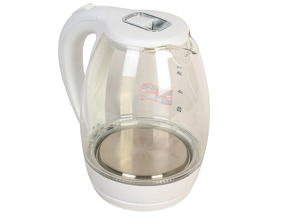 Чайник BBK EK1720G, 2200Вт, 1.7л, стекло, белый