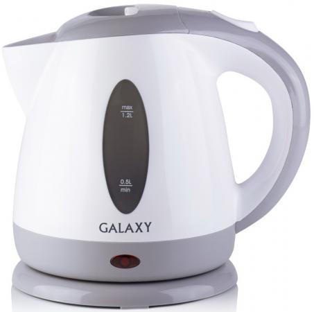Чайник GALAXY GL0222 2200 Вт 1.2 л пластик белый серый чайник galaxy gl0222