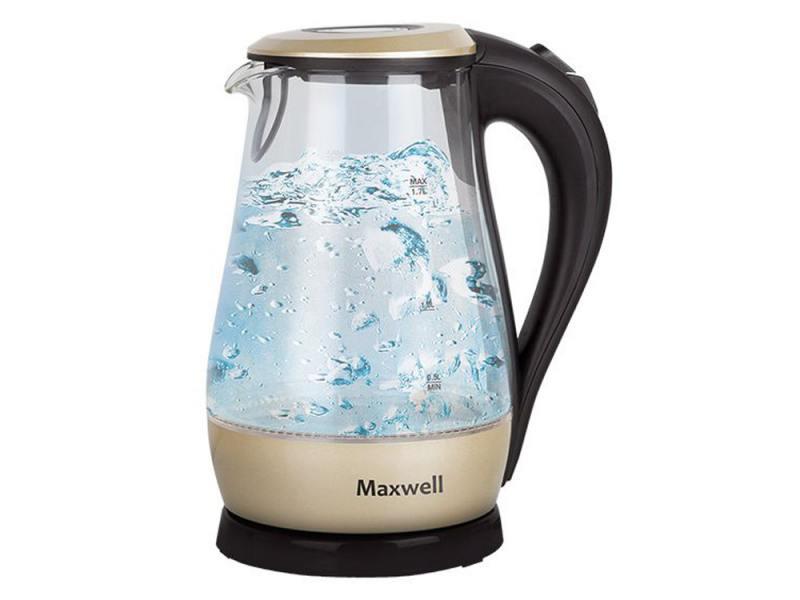 Чайник Maxwell MW-1041 GD 2200 Вт 1.7 л пластик/стекло чёрный прозрачный золотистый