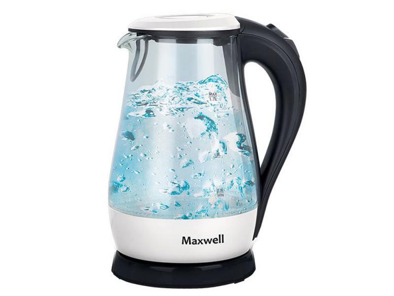 Чайник Maxwell MW-1070 W 2200 Вт 1.7 л стекло белый чёрный прозрачный
