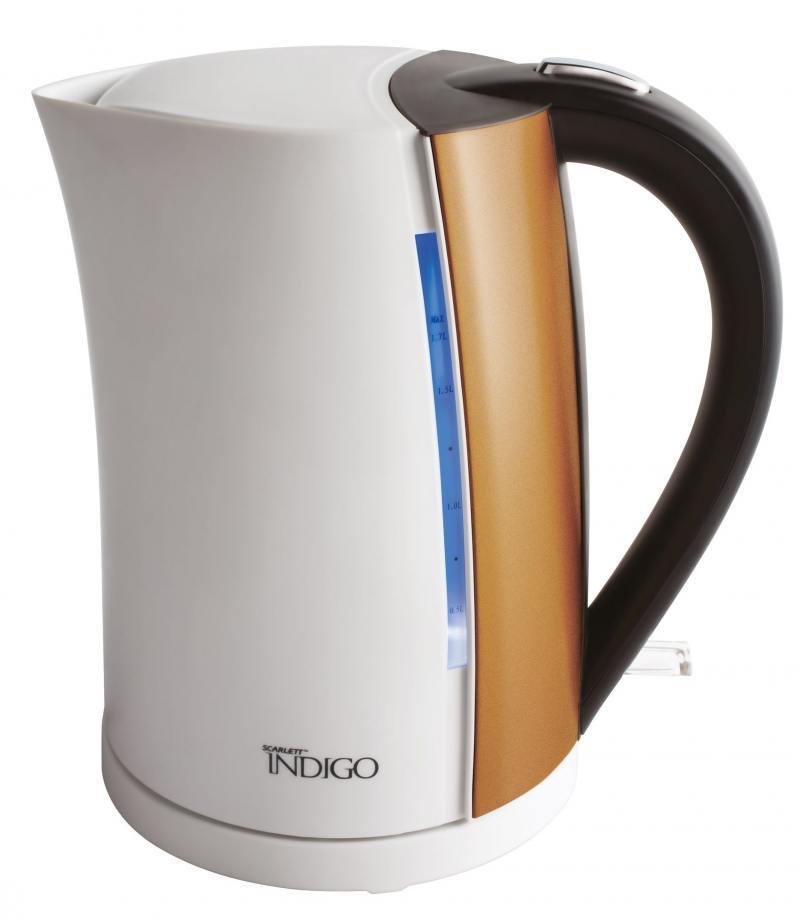 Чайник Scarlett IS-EK20P01 2200 Вт 1.7 л металл/пластик белый коричневый scarlett чайник scarlett is 503 белый