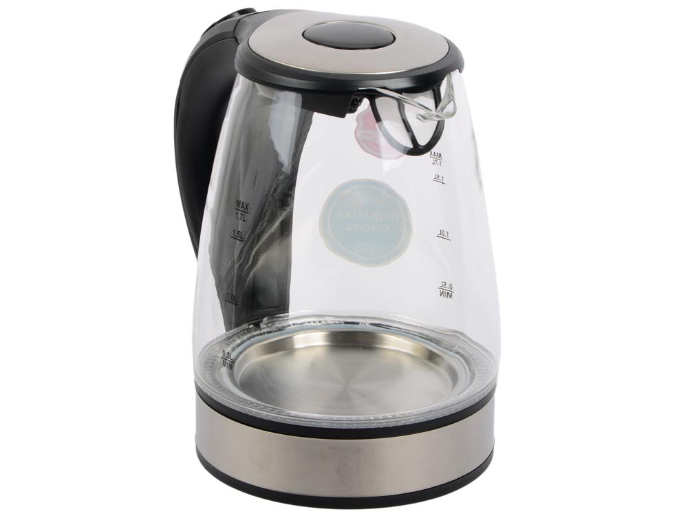 Чайник Vitek VT-7008 TR 2200 Вт 1.7 л пластик/стекло чёрный чайник vitek vt 7008 tr 2200 вт чёрный 1 7 л пластик стекло