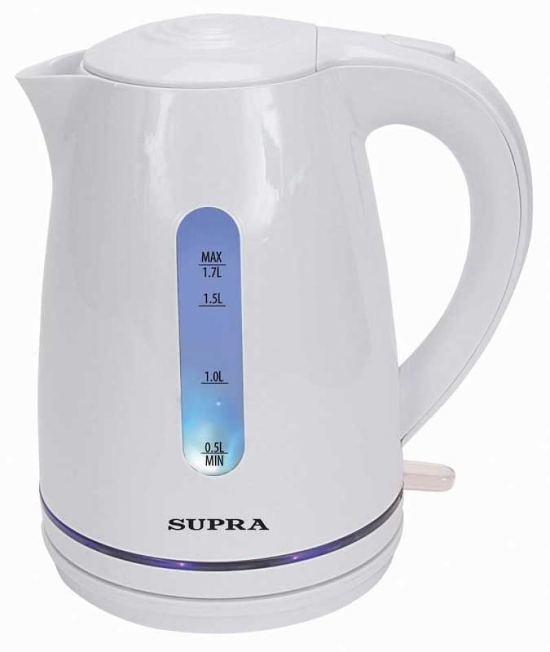 Чайник Supra KES-1729 2200 Вт 1.7 л пластик белый чайник supra kes 1721 2200 вт белый 1 7 л пластик