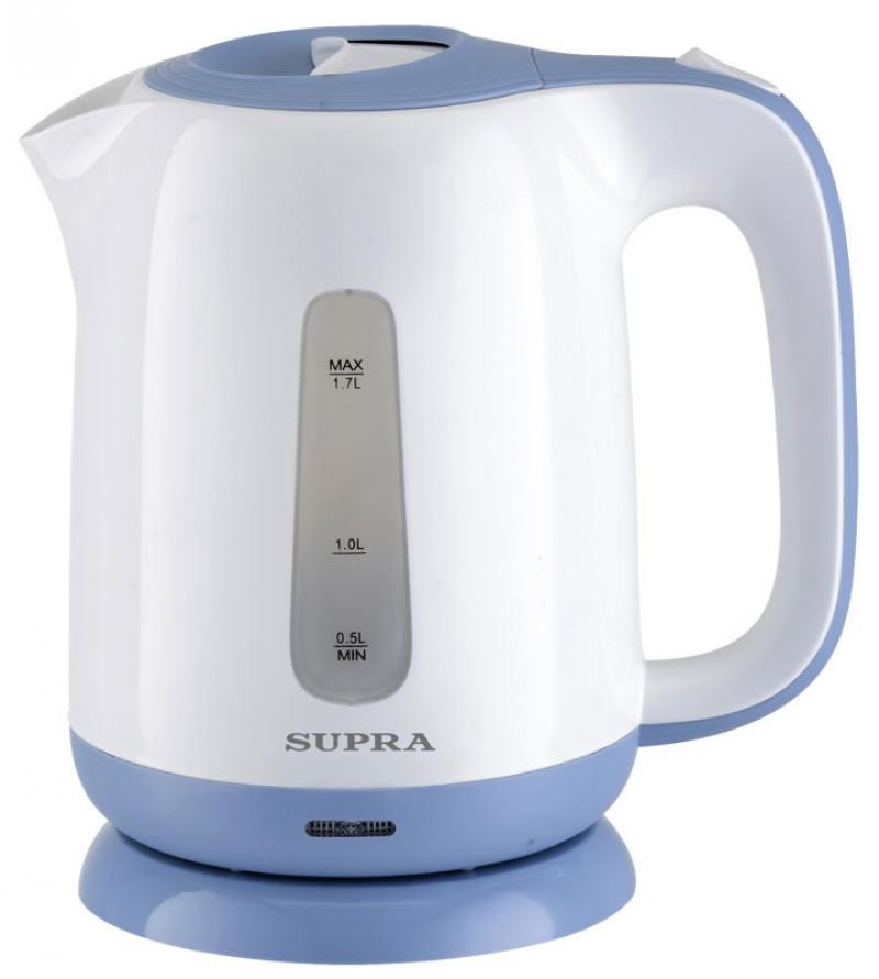 Чайник Supra KES-1724 2200 Вт 1.7 л пластик белый синий чайник supra kes 1724 2200 вт 1 7 л пластик белый синий