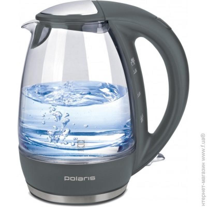 Чайник Polaris PWK 1719CGL 2200 Вт серый 1.7 л стекло чайник polaris pwk 1754 clwr 2200 вт 1 7 л пластик белый синий