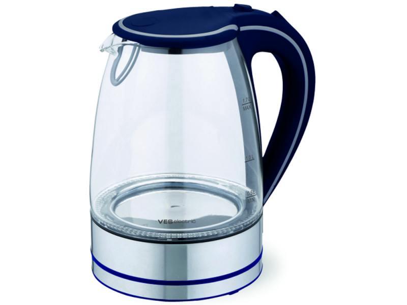 Чайник VES Electric 2005 синий 2200 Вт, 1.7 л, стекло чайник ves electric 2006 r 2200 вт красный 1 7 л стекло