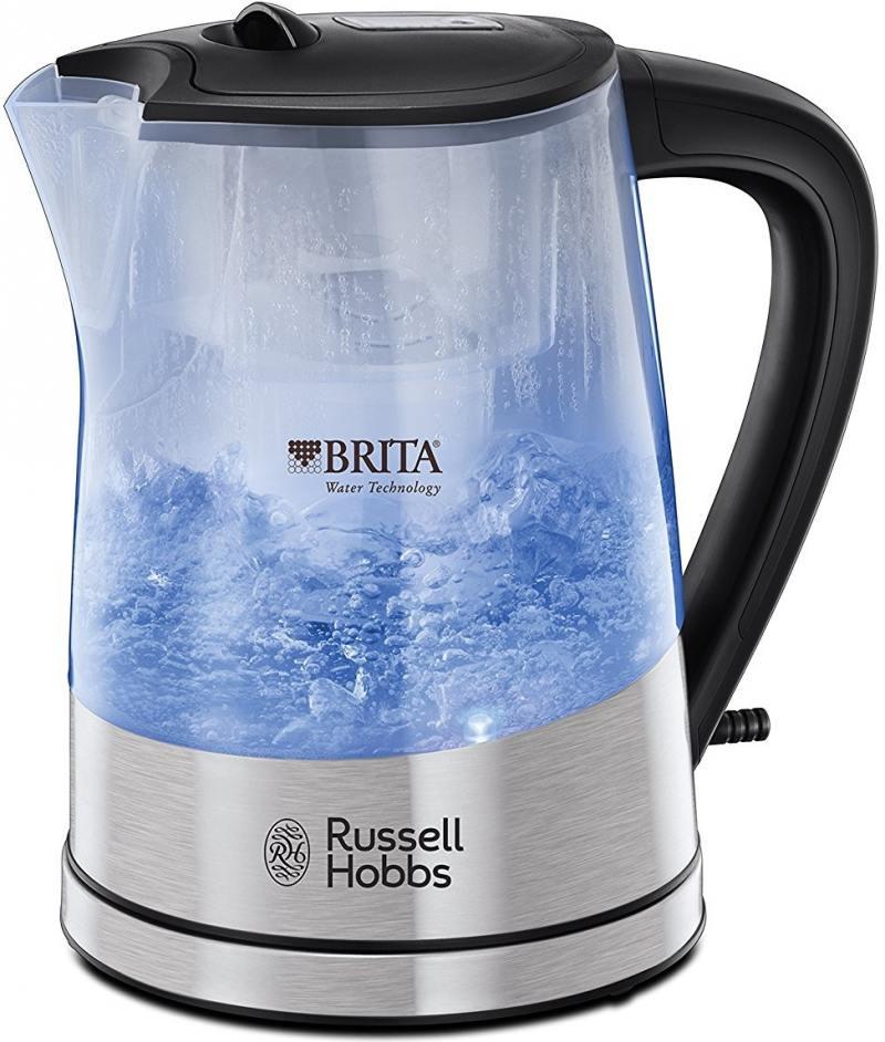 Чайник Russell Hobbs Purity Brita Maxtra 2200 Вт серебристый 1 л металл/пластик 22850-70 чайник clatronic wks 3625 2200 вт фиолетовый 1 8 л металл