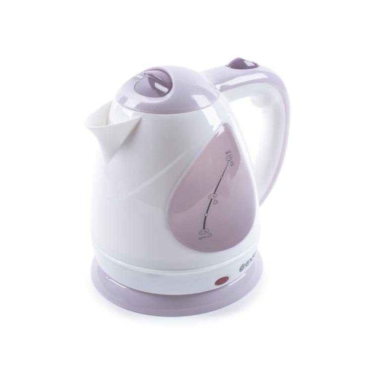 Чайник электрический Endever Skyline KR-348, белый-розовый, мощность 2100 Вт, емкость 1,5 л, пластиковый корпус, скрытый нагр.элем . чайник endever skyline 351 kr 2100 вт белый бордовый 1 8 л пластик