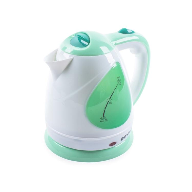 Чайник электрический Endever Skyline KR-349, белый-зеленый, мощность 2100 Вт, емкость 1,5 л, пластиковый корпус, скрытый нагр.элем .