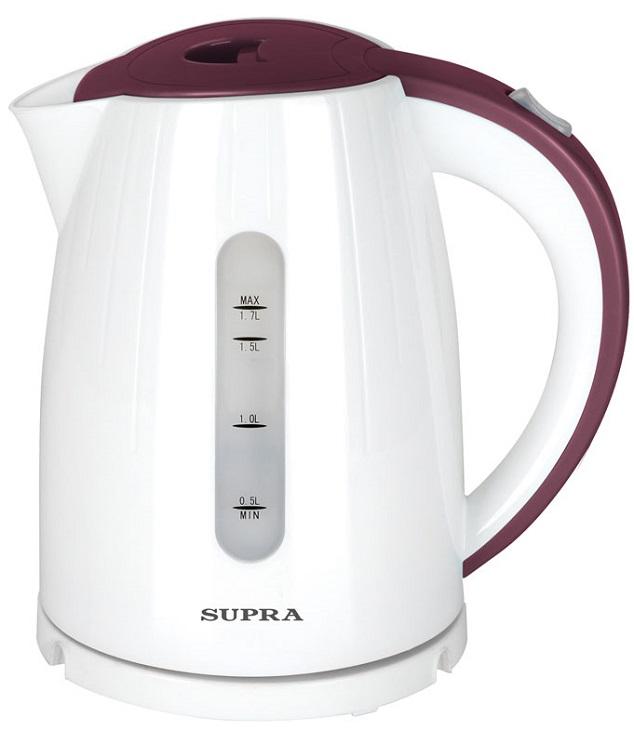 Чайник Supra KES-1704 2000 Вт белый бордовый 1.7 л пластик
