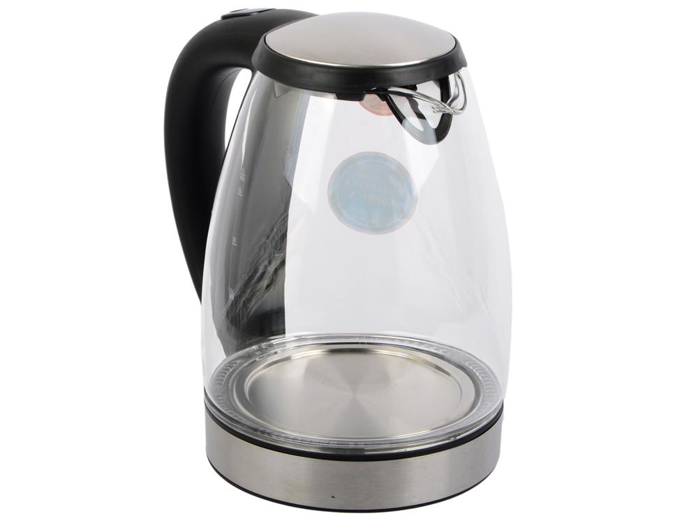 Чайник Vitek VT-7046 BK 2200 Вт чёрный 1.7 л металл/стекло чайник vitek vt 7008 tr 2200 вт чёрный 1 7 л пластик стекло